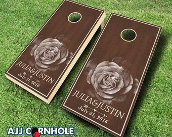 Country Rustic Rose Stained Cornhole Set with Bags - Wedding Cornhole Set - Wedding Gift - Cornhole Wedding
