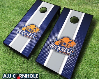 Officially Licensed Bucknell University Bison Striped Cornhole Set with Bags - Bean Bag Toss - Bucknell Cornhole - Corn Toss - Corn hole