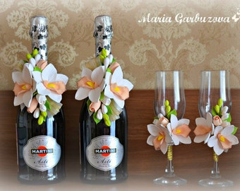 Wedding flower accessories and decoration, wedding supplies, bottle flower decoration, glasses decor, white orchid,  centerpieces