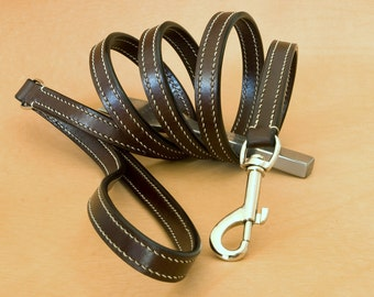 Leather dog leash made and stitched by hand