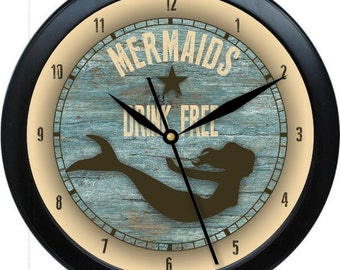 "Mermaids Drink Free 10"" Wall Clock Nautical Decor Gift"