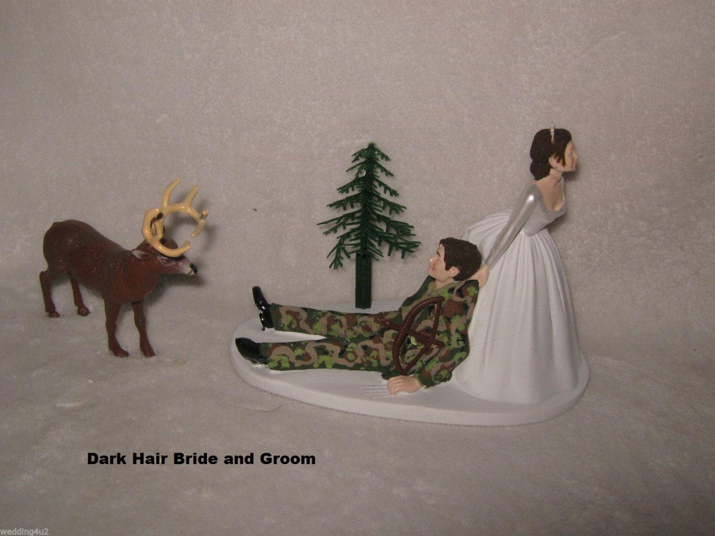 Wedding Reception Party Camo Deer Dark Hair Groom Bow & Arrow