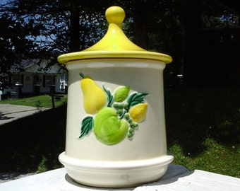 Holiday Designs Yellow Canister, Ceramic Yellow Top Canister with Lime Green Fruit Design