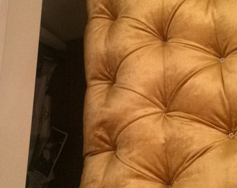 Headboards/ottomans. Bespoke chesterfield style, crystal button headboards. Made in any fabric. Matching pelmets available