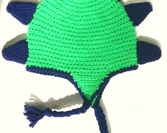 Dinosaur Earflap Crochet Hat-FREE SHIPPING!- Multiple Sizes Available