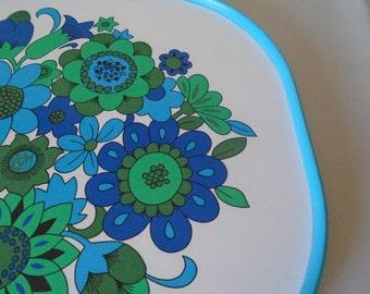 blue flower power 70's melamine tray.