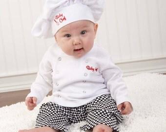 Baby Chef 3-Piece Layette  (Personalization Free), Baby Costume, Baby Shower Gift, Monogram Gift