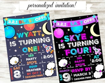 Personalized Outer Space Birthday Invitation!