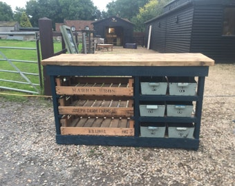 Larder Unit with Vintage Apple Crate and Metal Trays