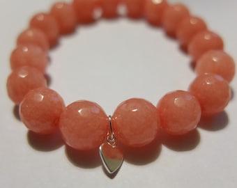 Semi precious beads bracelet, elastic bracelet, jade salmon, silver heart pendant
