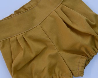 Baby / Toddler Girls Mustard Pleatie Bloomers - Shorties - Sizes 0 - 8