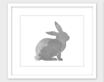 Bunny Rabbit Art Print, Nursery Print, Gray Watercolor Rabbit Printable Wall Art, Instant Digital Download