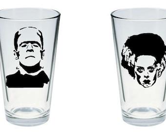 Frankenstein's Monster and Bride of Frankenstein Inspired Pint Glass Set of 2