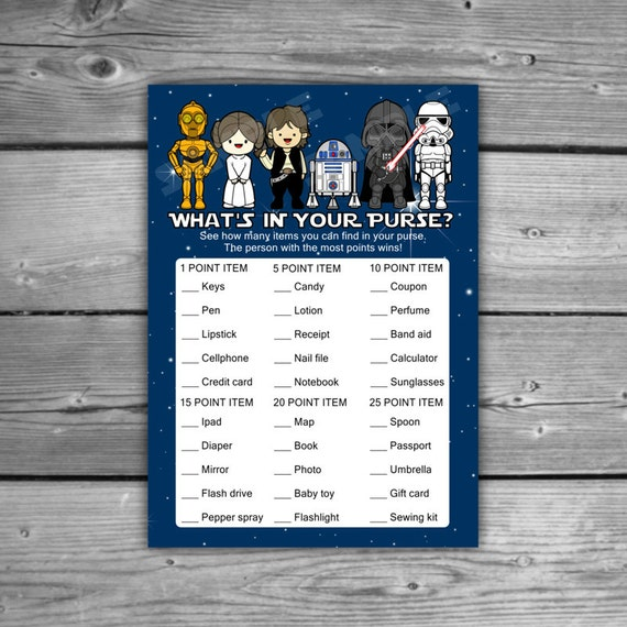star wars baby shower what 39 s in your purse game printable instant