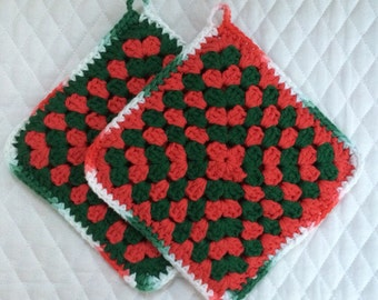 Christmas Crocheted Granny Square Pot Holders - Set of 2
