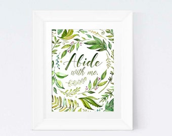 Abide With Me Watercolor Print Art