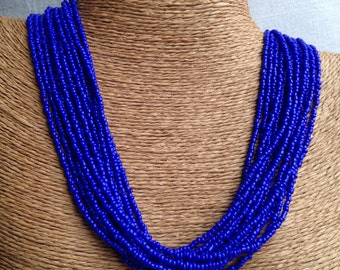 cobalt blue necklace, cobalt seed bead multi-strand necklace, cobalt bridesmaids, cobalt necklace, royal blue bridesmaids, blue necklace