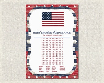 Word Search Baby Shower Activity red blue white 4th July DIY Baby Shower game Word Search quiz  Gender Neutral Instant Download BS-200