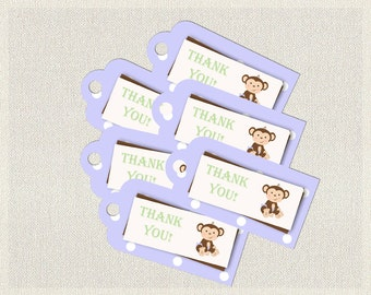 Printable Monkey Favor Thank You Tags Purple Green Brown |  Favors Tags  Baby Shower Girl BS-133