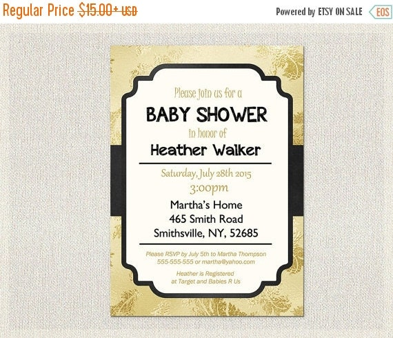 black and gold baby shower invitation printable black and gold gold