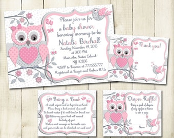 Pink grey owl baby shower printable invitation set baby girl digital invite with inserts thank you bring a book Diaper Raffle card