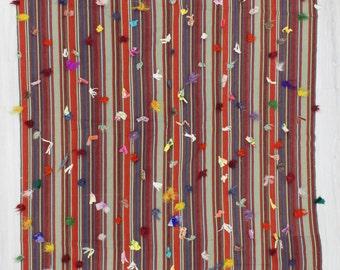"5'5""x8'6"" (166x258cm) Vintage handwoven decorative stripedTurkish tulu kilim rug with colorful pon pon ,FREE SHİPPİNG"