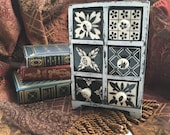 Apothecary Cabinet, Hand Painted Ceramic 6 Drawer Black & White Shabby Chic Miniature Chest of Drawers, Spice Drawer Cabinet, Item 293434123