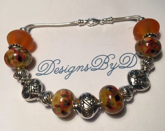 Orange, Yellow and Blue European Style Bracelet