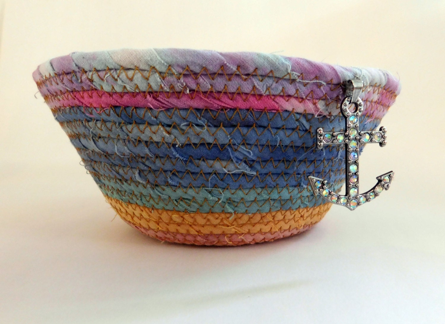 Handmade Rope Basket : Basket fabric rope coil handmade by lauraloxley