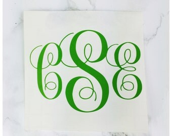 Cursive Monogram Vinyl Decal