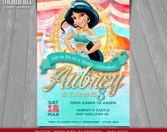 Princess Jasmine Invitation - Disney Jasmine Invite - Princess Jasmine Birthday Invitation - Disney Aladdin Princess Jasmine Birthday Party