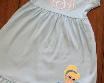 Monogrammed princess ruffle dress- custom ruffle dress with applique