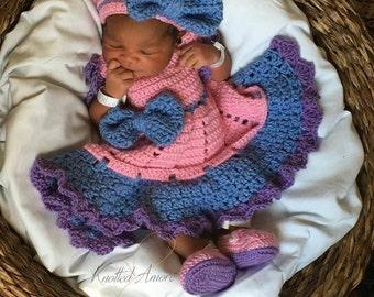 Crochet baby dress set, crochet headband, crochet booties, crochet dress, baby dress, photo prop, baby booties, baby gift, baby outfit