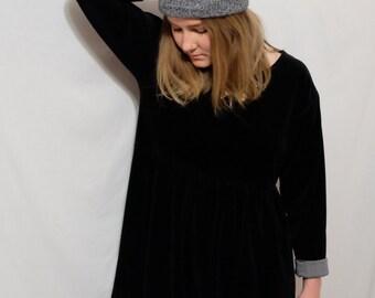 Reworked 3/4 Sleeve Black Velvet Baby Doll Dress