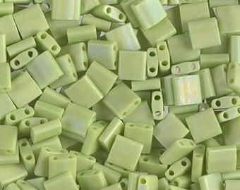 Tila Bead- Matte Op Chartreuse AB  #416FR  Miyuki Tila Beads - 10 grams