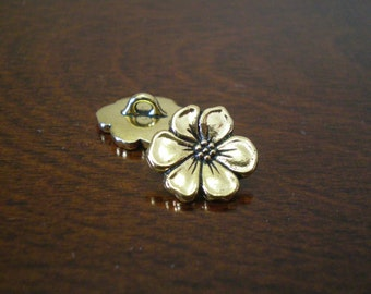 "3 - TierraCast Apple Blossom Metal Buttons with Shank 5/8"" (16mm) Antique Gold Color"