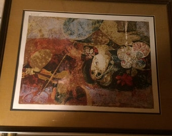 "Sunol Alvar Signed Original Lithograph Print 24""x36"" Very Beautiful. Does not have COA. Woman and Violin 192/200"