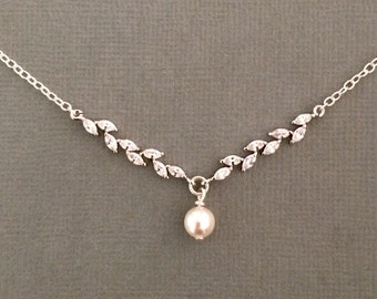 Sterling silver necklace, cubic zirconia and swarovski pearl bridal necklace, pearl necklace, wedding jewelry, bridesmaid jewellery, cz