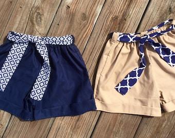 Back to school shorts belt girl uniform shortspaperbag shorts kindergarten 1st grade 2nd grade