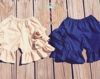 Custom School Uniform Ruffle Shorts Mega Ruffles Girls Kindergarten 1st grade 2nd grade 3rd grade