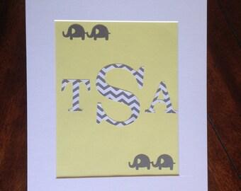 Children's Monogram Wall Art - Chevron Elephants