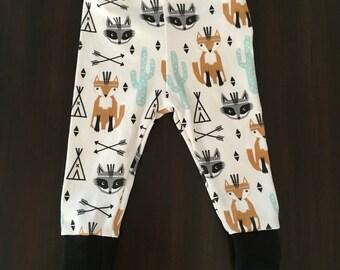 Organic Woodland Fox and Tribal Explorer Baby Leggings organic cotton gender neutral baby leggings designer fabric modern baby arrows