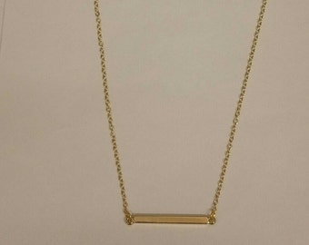 Horizontal Gold Bar Necklace - Tiny 18K Gold Plated Bar Necklace - Minimalist Necklace - Mother's Day Gift