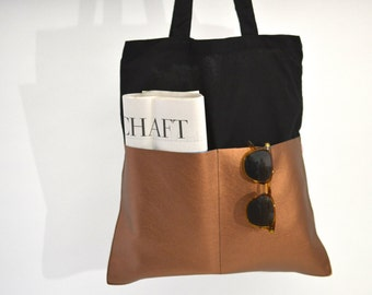 Shopper, Cottonbag, black copper, artificial leather, Bag, textile bag