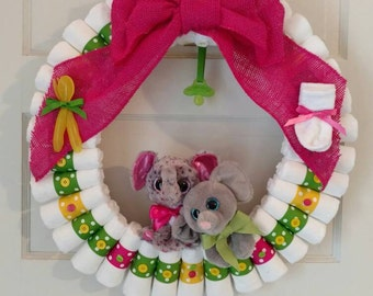 Diaper Wreath 18 inch with Elephants- Green and Pink