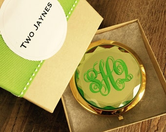 Monogrammed Compact Mirror - Personalized… Gold tone with GREEN, PINK, TEAL, or clear