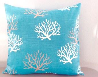 Pillow Cover Coral Design-Coastal Blue Fabric-Beach Decor-Tropical Decor-Nautical Decor-Lake Pillow-Coastal Pillow