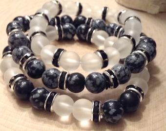 Stackable Obsidian & Quartz Bead Bracelets