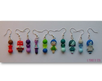 Earrings Inside Out. Made by hand, without the use of molds, polymer clay, customizable color and accessories