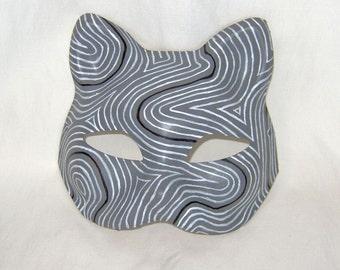 Grey Topographic Fox Mask